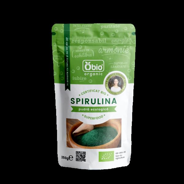 Spirulina pulbere raw bio (250 grame)