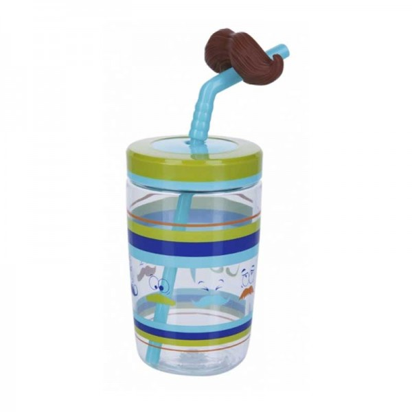 Sticla de apa pentru copii Contigo Bueno Funny Straw 470 ml blue moustache