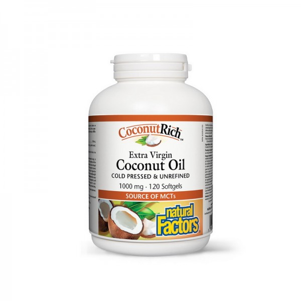 Ulei de cocos biologic extravirgin 1000 mg (120 capsule), Natural Factors