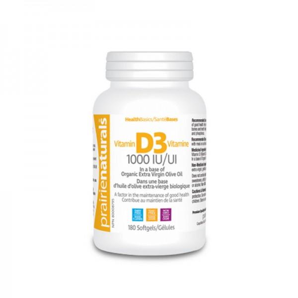 Vitamina D3 Forte 1000 UI (180 capsule), Prairie Naturals