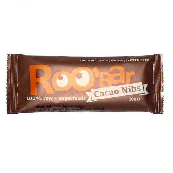 Baton raw bio cu miez de cacao si migdale (30 grame)