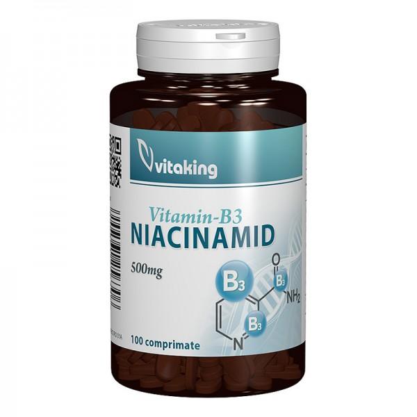 Vitamina B3 Niacinamida 500 mg (100 comprimate), Vitaking