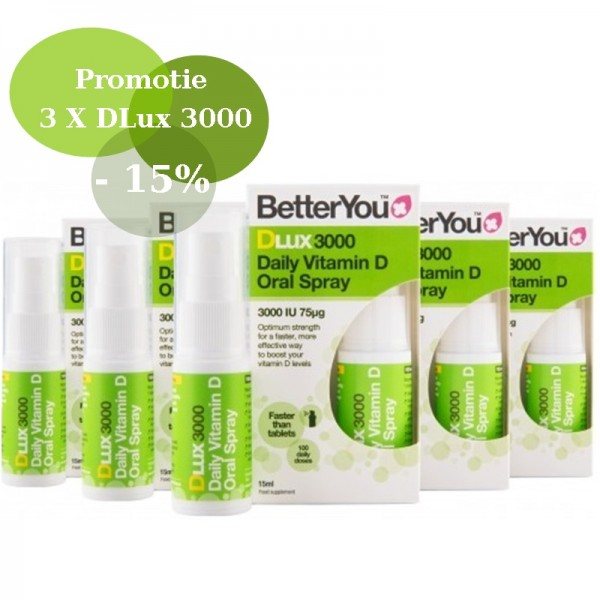 Economy Pack 3 x DLux 3000 Vitamin D Oral Spray (15ml), BetterYou